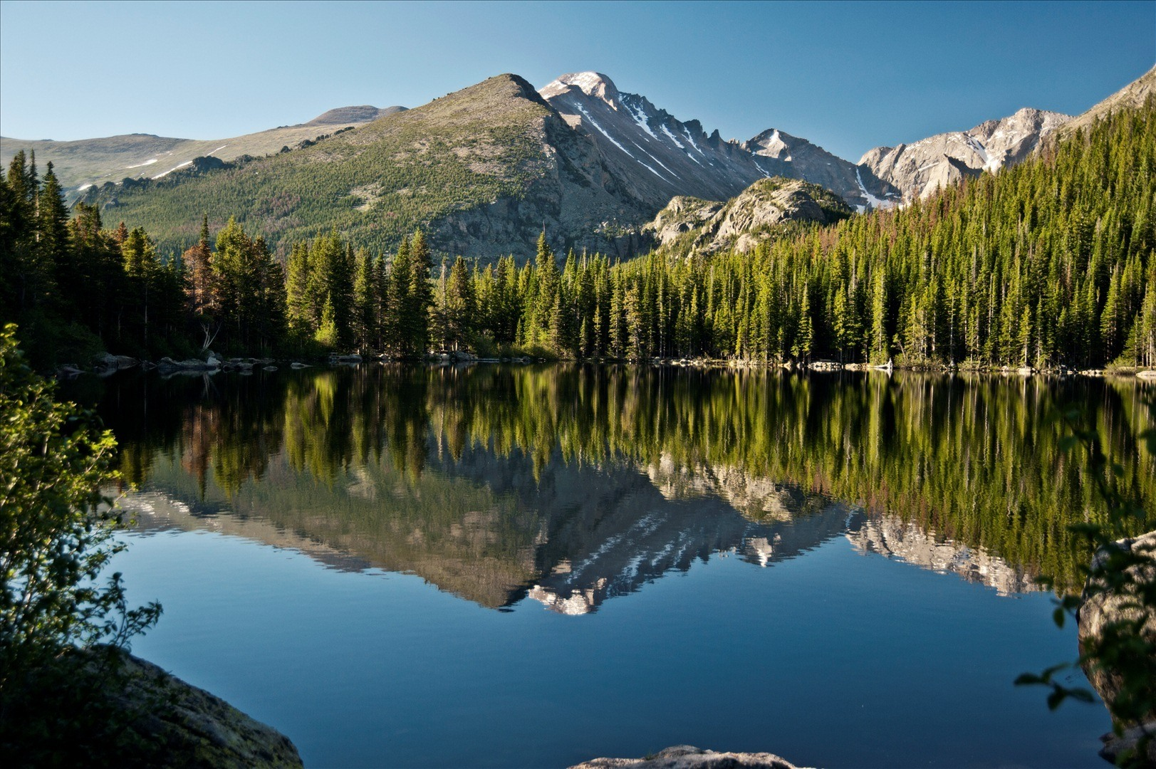 rocky mountains with lake